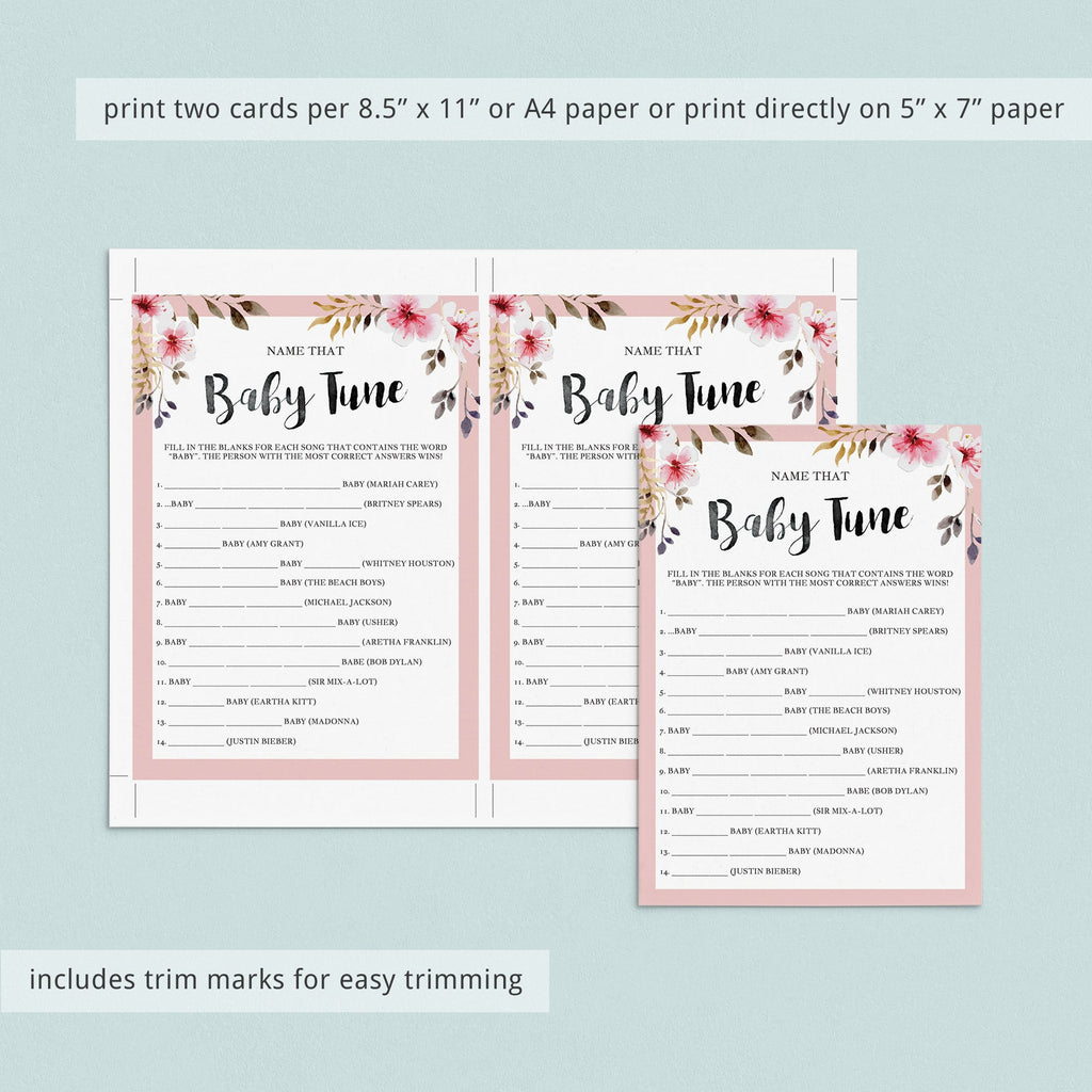 Name that song baby shower game with answer sheet by LittleSizzle