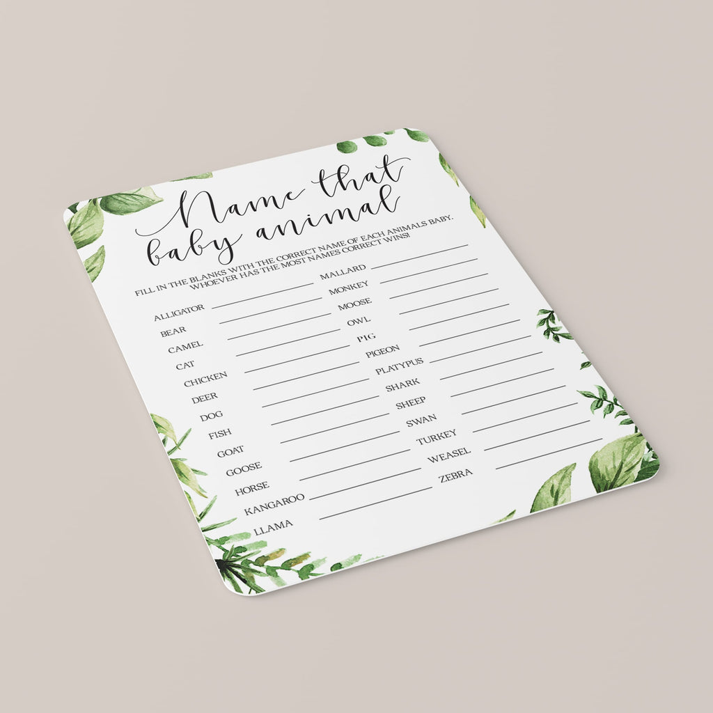 Animals Baby Name Quiz Baby Shower Game Printable Greenery