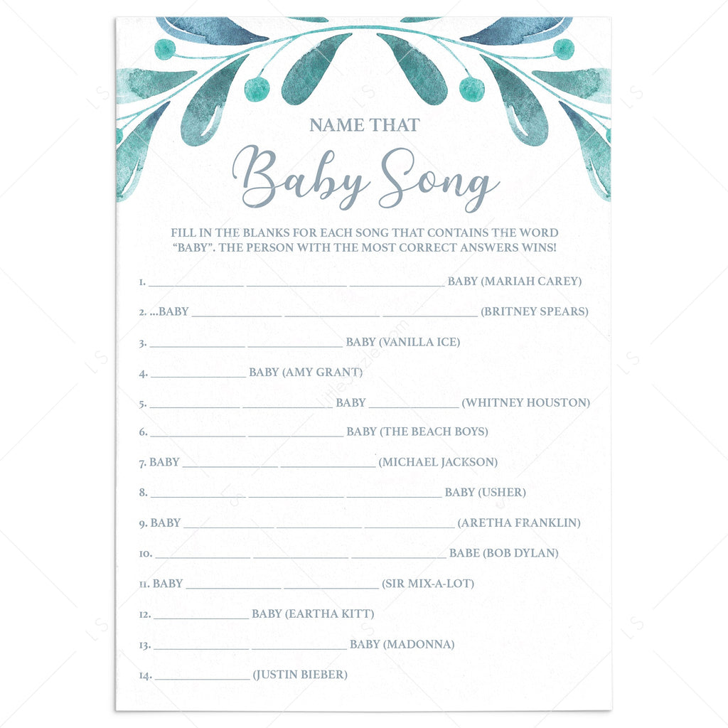 Watercolor Blue Baby Shower Game Guess The Song by LittleSizzle