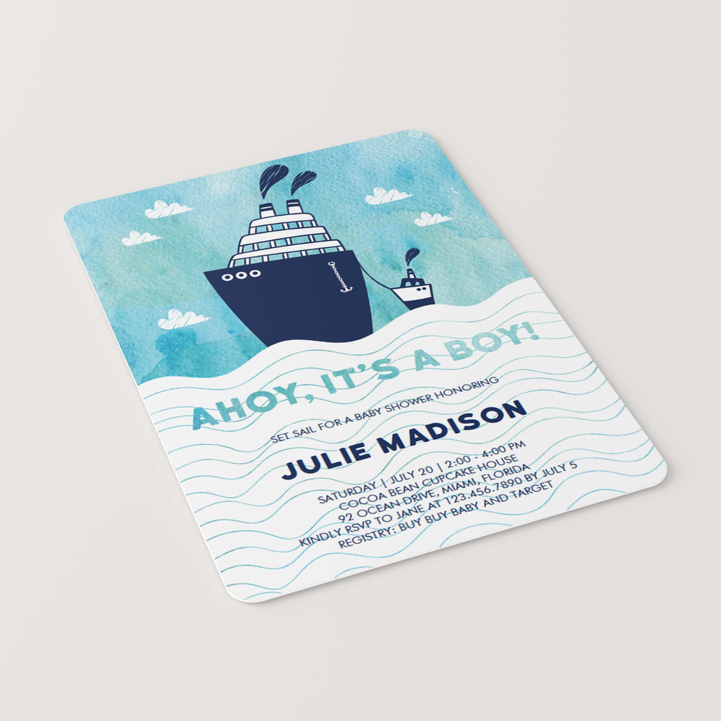 Ahoy It's A Boy Baby Shower Invitation Template Blue
