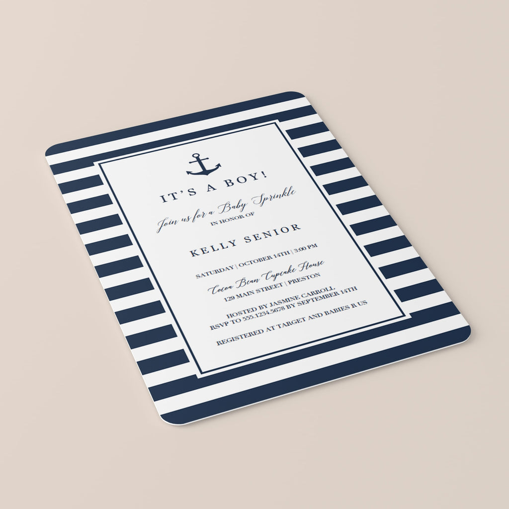 Nautical Baby Sprinkle Invitation Template Navy Blue