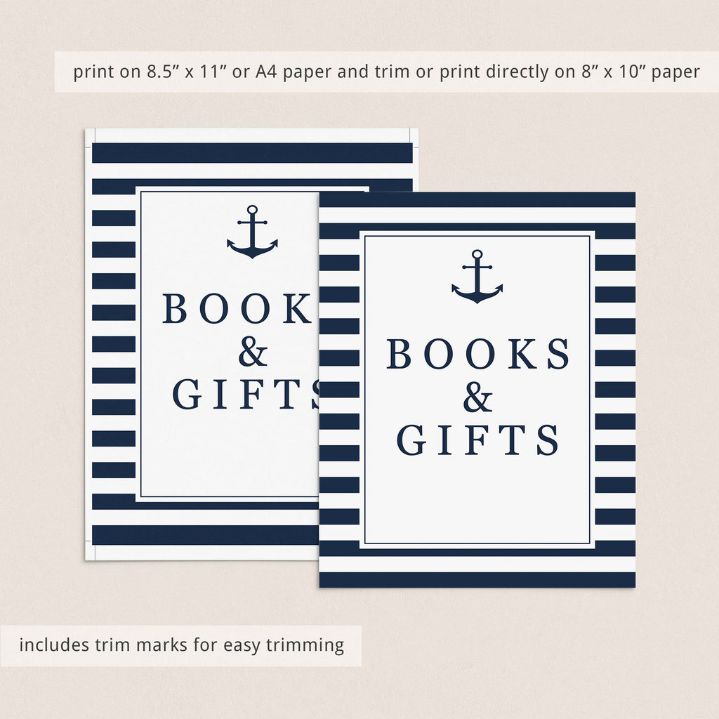 Books and gifts table sign nautical baby shower by LittleSizzle