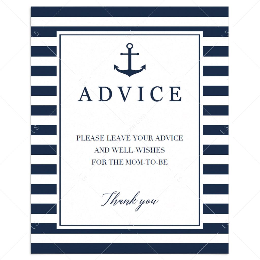 Nautical baby boy shower advice sign printable by LittleSizzle