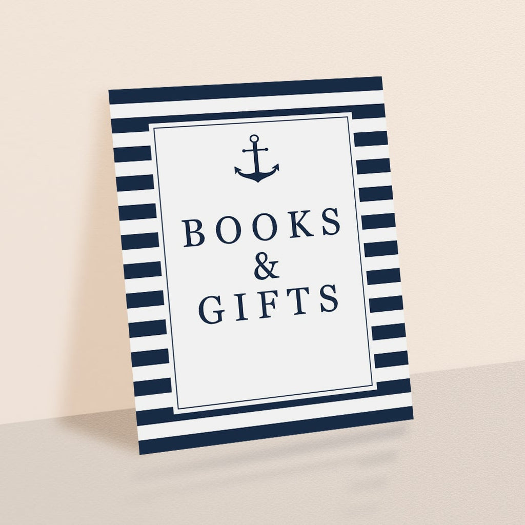 Nautical Baby Shower Books and Gifts Sign Printable
