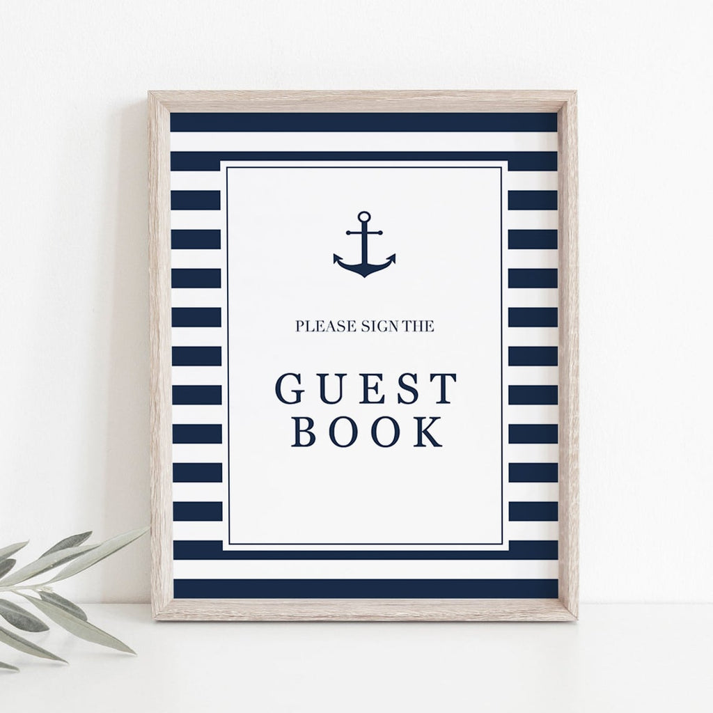 Anchor baby shower guest book sign table decorations by LittleSizzle