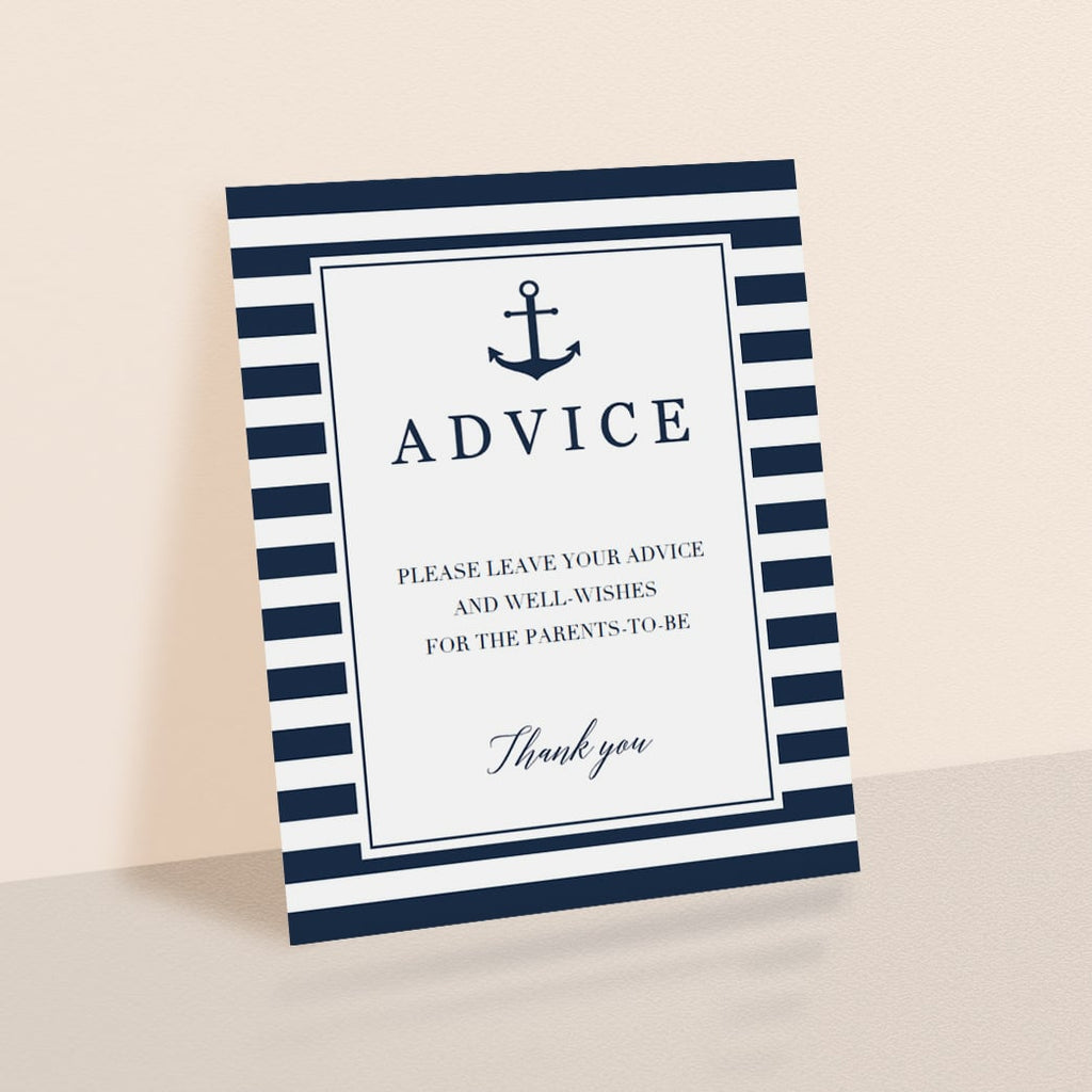 Printable Advice Sign for Nautical Baby Shower