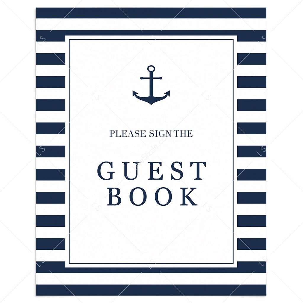 Nautical guestbook table sign printable by LittleSizzle
