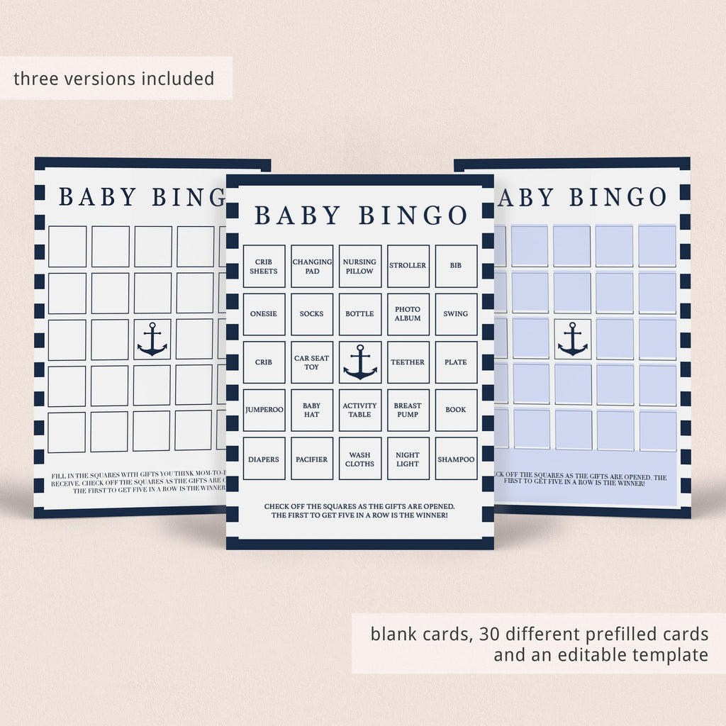 Baby bingo template for boy baby shower by LittleSizzle