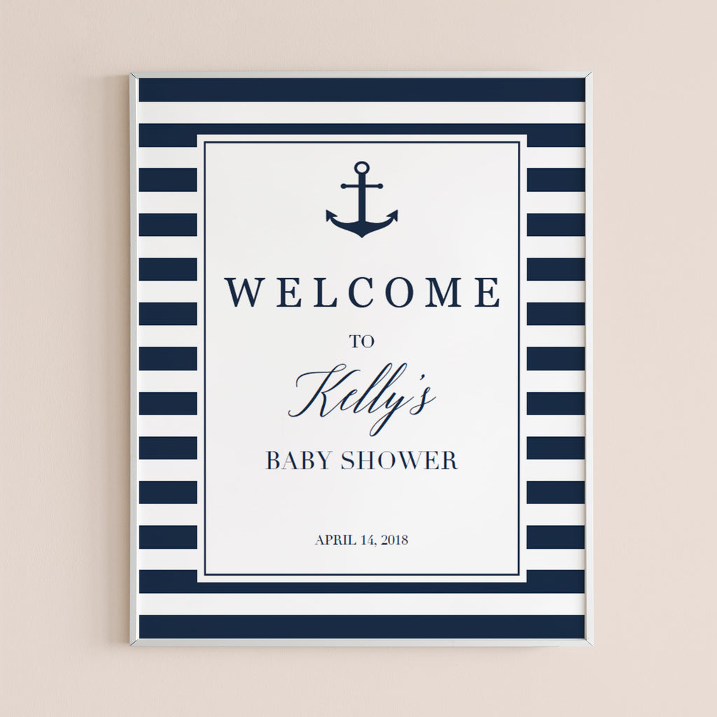 Nautical themed Baby Shower Door Sign Baby Shower Welcome Sign,