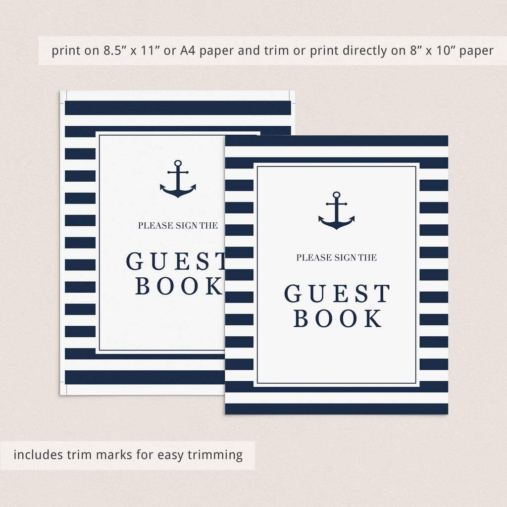 Boy baby shower guest book sign printable navy and white by LittleSizzle