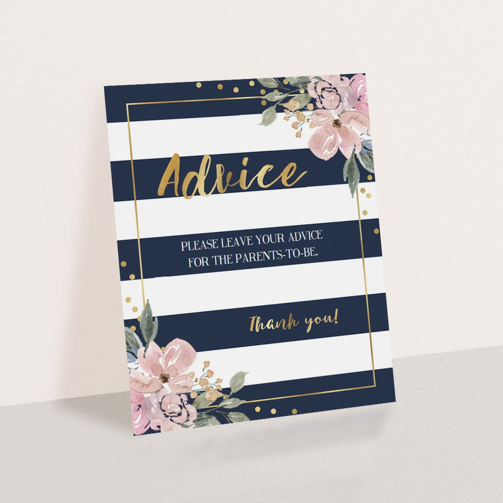 Printable Baby Shower Advice Sign Navy and Gold