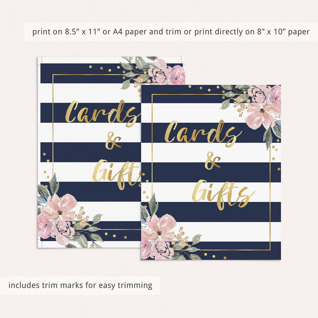 Navy pink and gold cards and gifts sign for shower by LittleSizzle