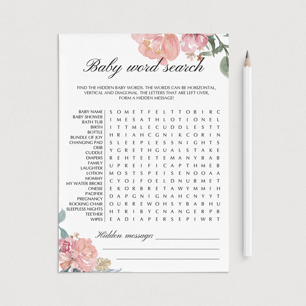 Baby word search game printable watercolor floral by LittleSizzle