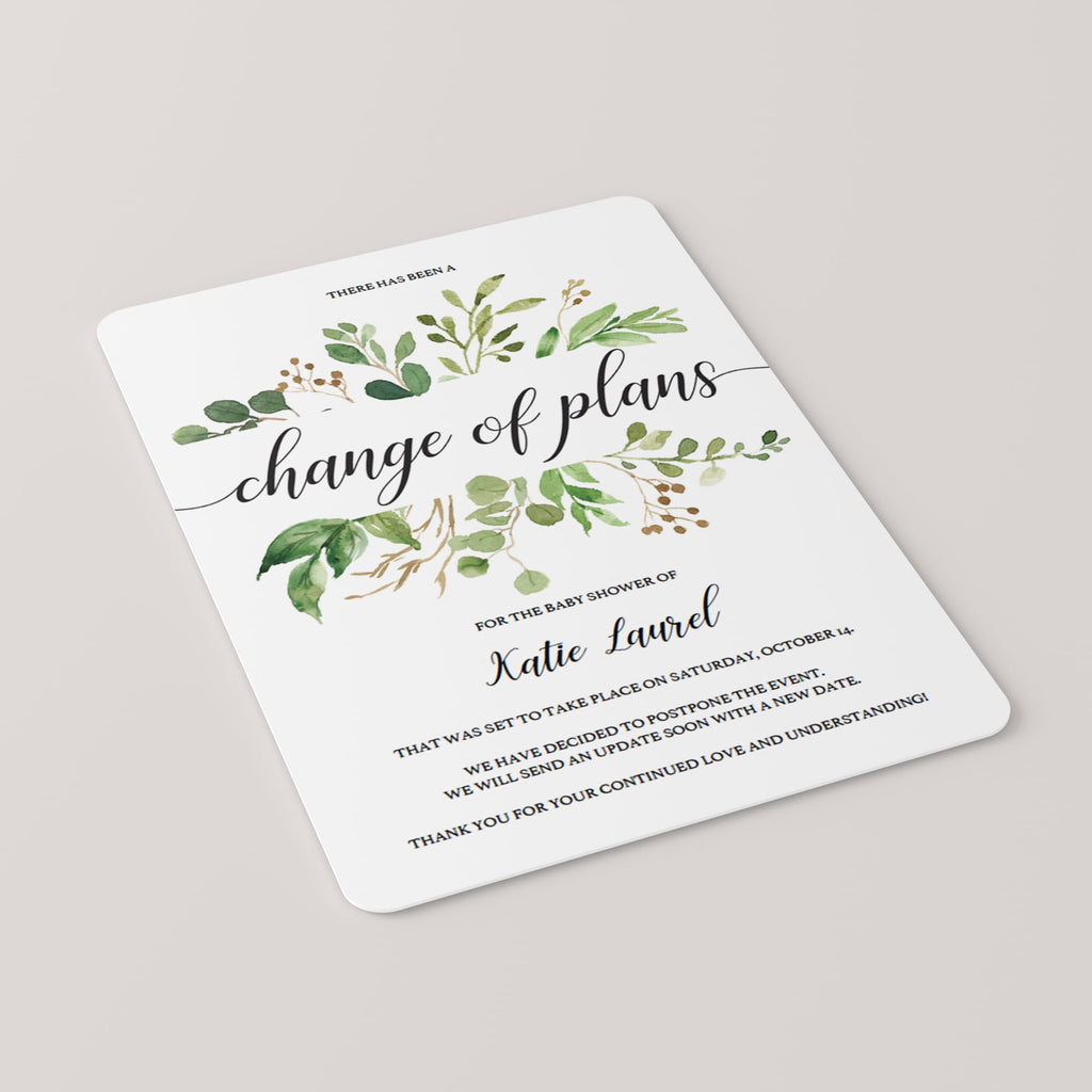 Postponed baby shower cards greenery theme by LittleSizzle