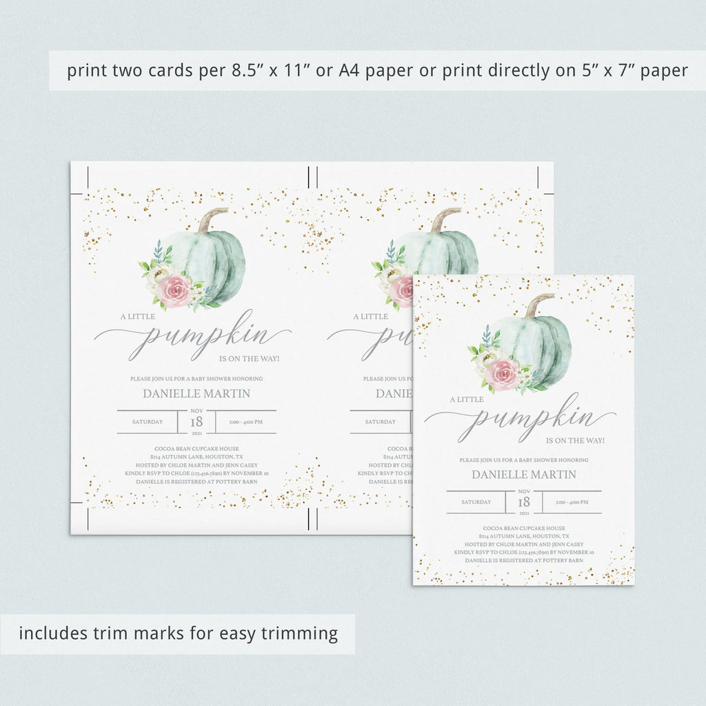 Green pumpkin baby shower invitation template by LittleSizzle