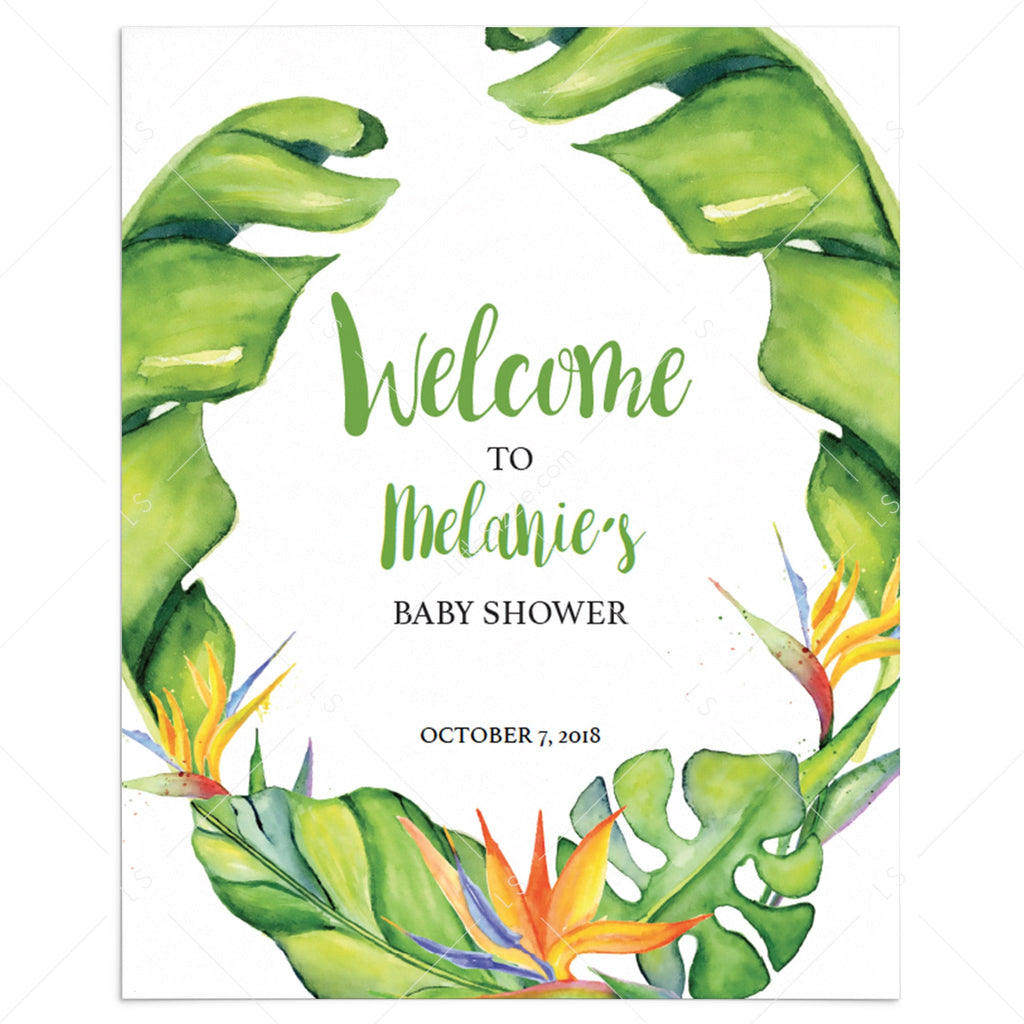 Banana Leaf shower welcome sign printable by LittleSizzle