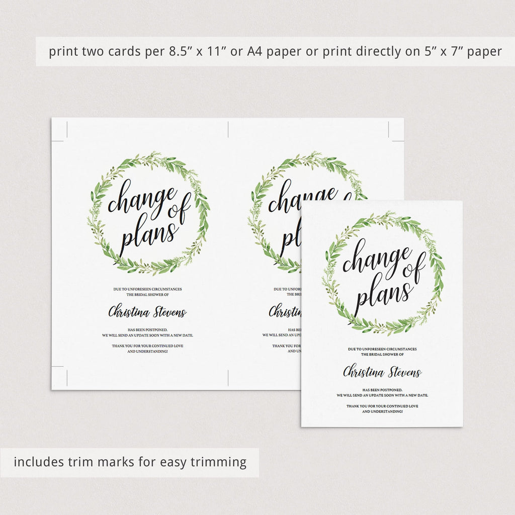 Greenery bridal shower postponement template by LittleSizzle