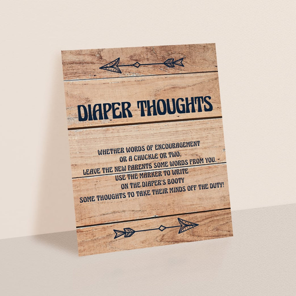 Printable Diaper Thoughts Sign for Woodland Shower