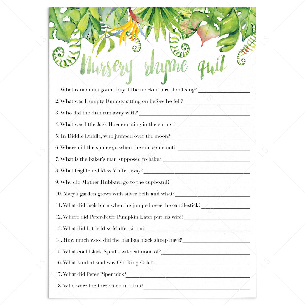 Luau baby shower games printable nursery rhyme quiz by LittleSizzle