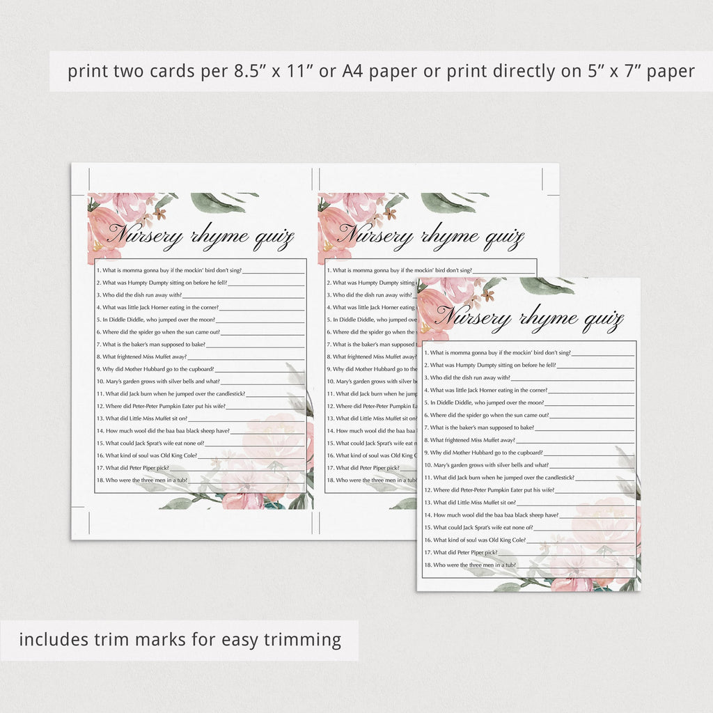 Nursery rhyme quiz elegant baby shower game printable by LittleSizzle
