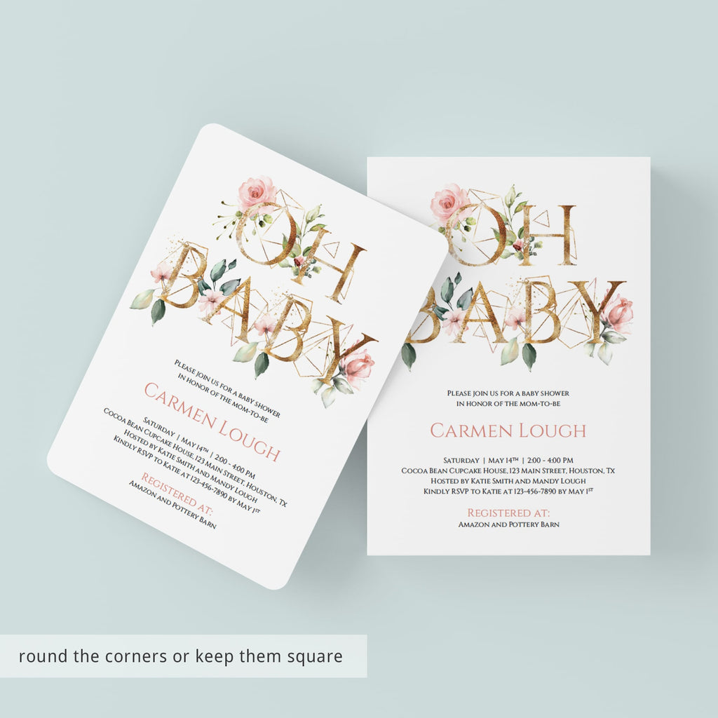 Gold Floral Baby Shower Invitation Set Templates Modern Theme