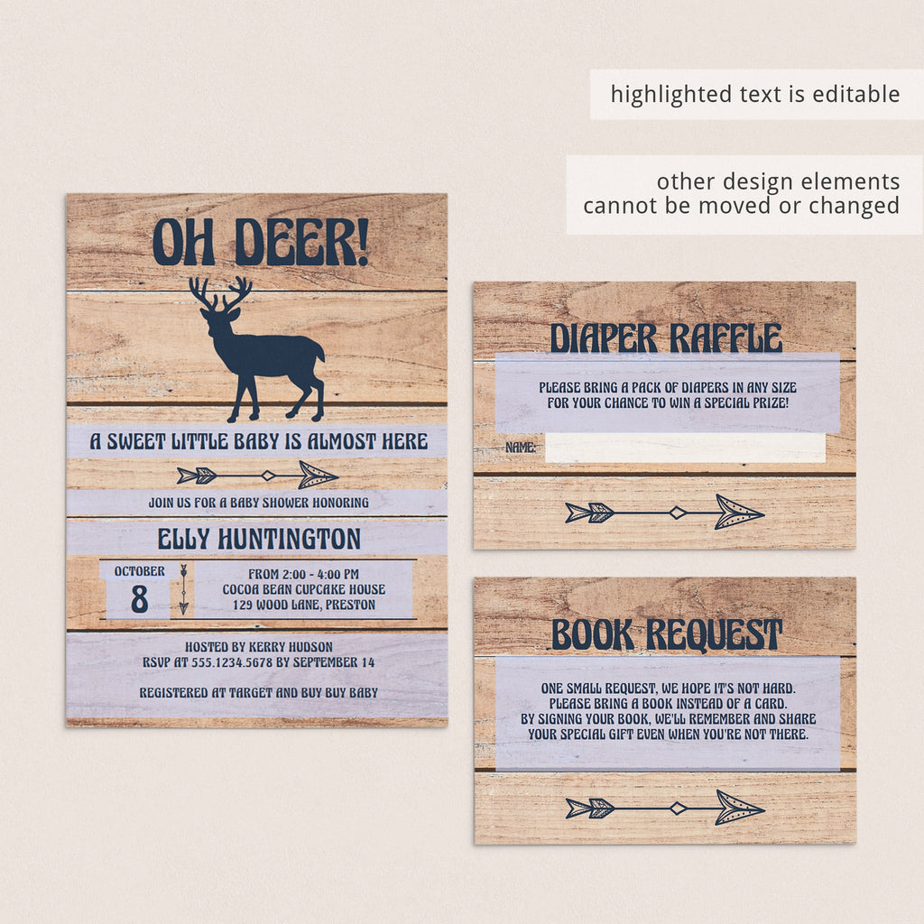 Editable baby shower invitation template gender neutral woodland by LittleSizzle