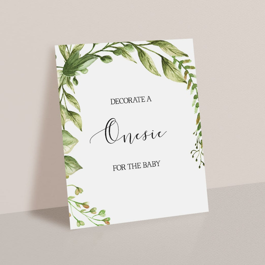 Onesie Decorating Sign Instant Download with Green Leaves