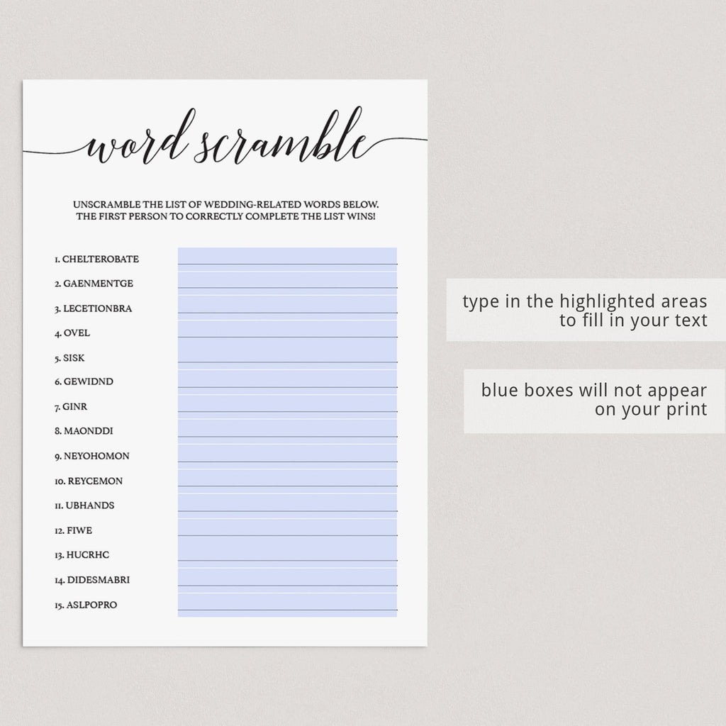Word Scramble Game for (Virtual) Bridal Shower