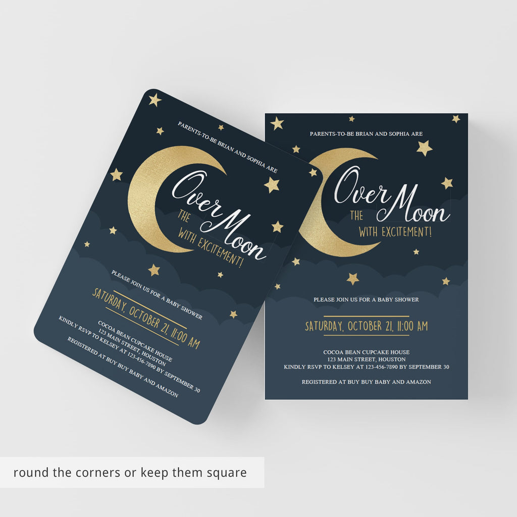 Template Twinkle Over the Moon Baby Shower Invitation Editable Invitation Twins Moon Invite Neutral Star Download Templett Digital