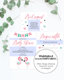 Editable baby shower invitation set for gender neutral party by LittleSizzle