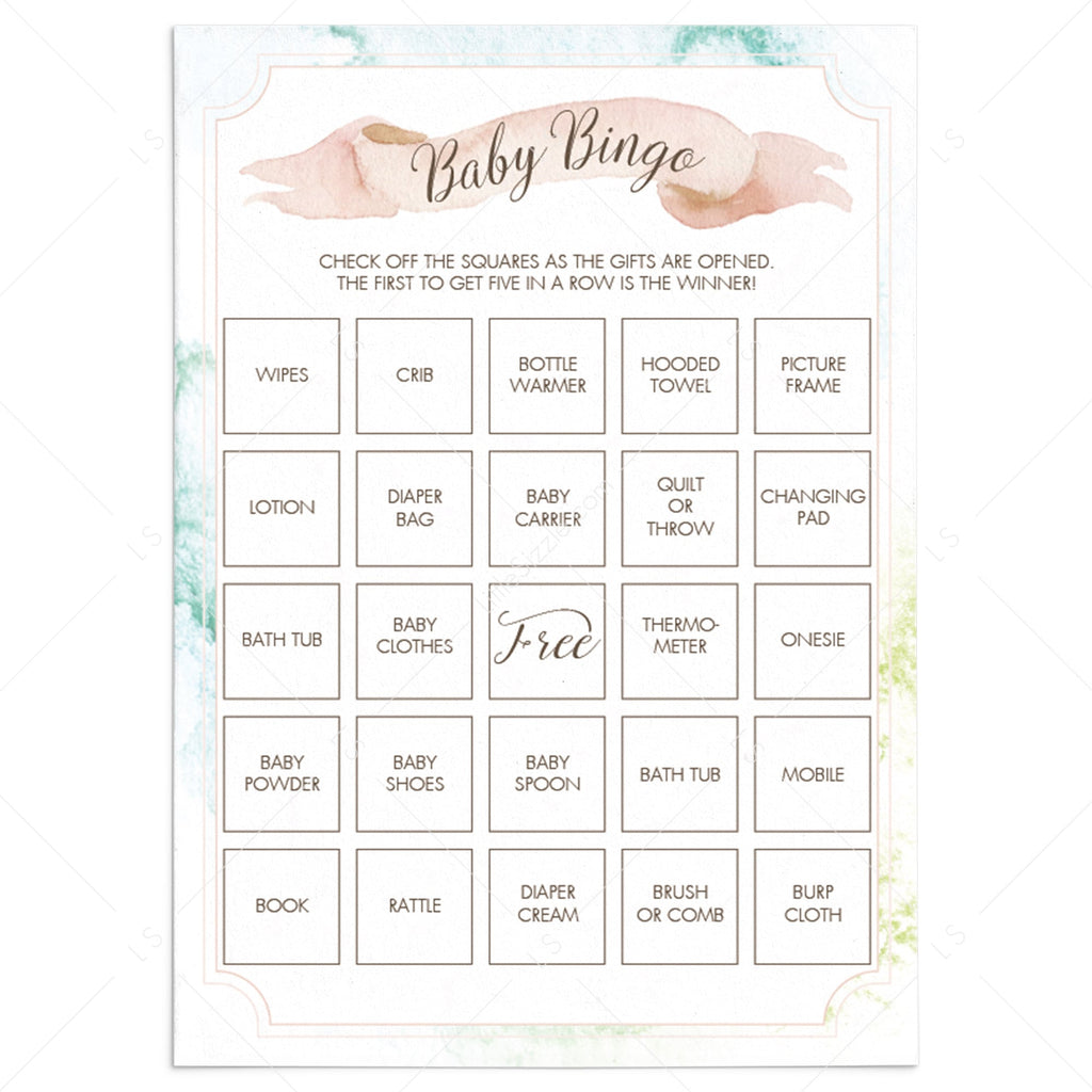 Prefilled baby shower bingo cards with watercolor background by LittleSizzle