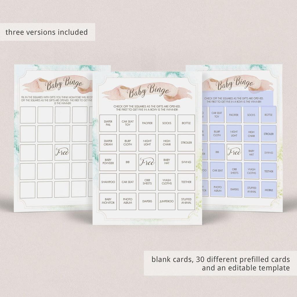 30 prefilled baby shower bingo cards instant download by LittleSizzle