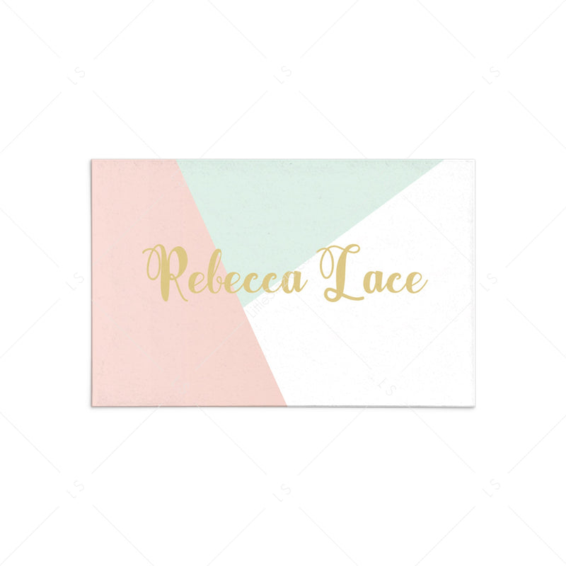 Pastel Place Card Template Pink Mint Gold Table Decor Littlesizzle