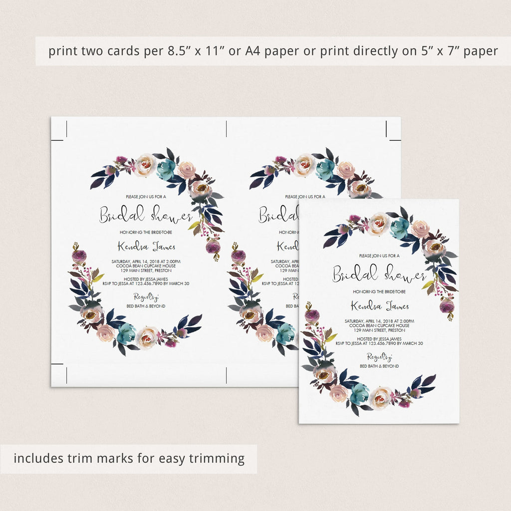 Purple Bridal Shower Invitation Template Floral Theme