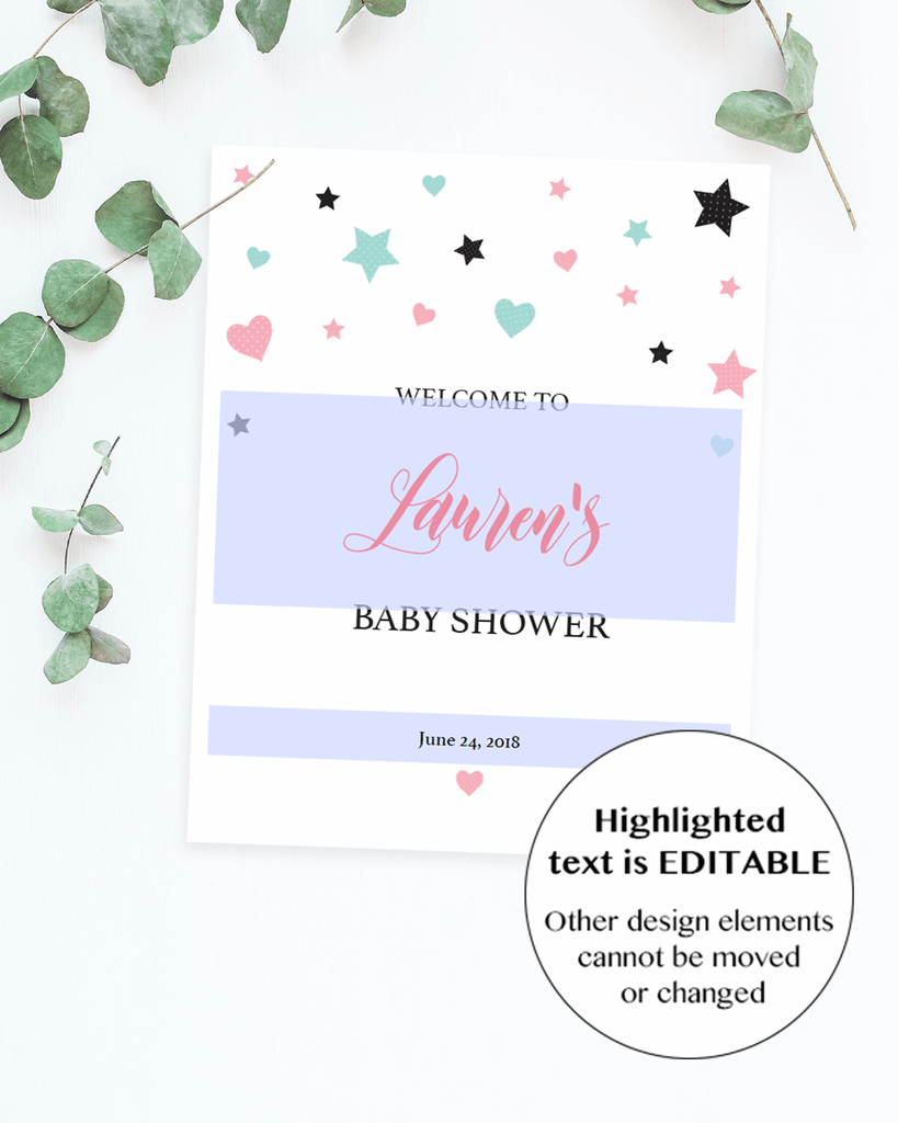 Editable welcome sign template for baby sprinkle by LittleSizzle
