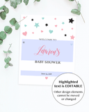 Editable welcome sign template for girl shower by LittleSizzle