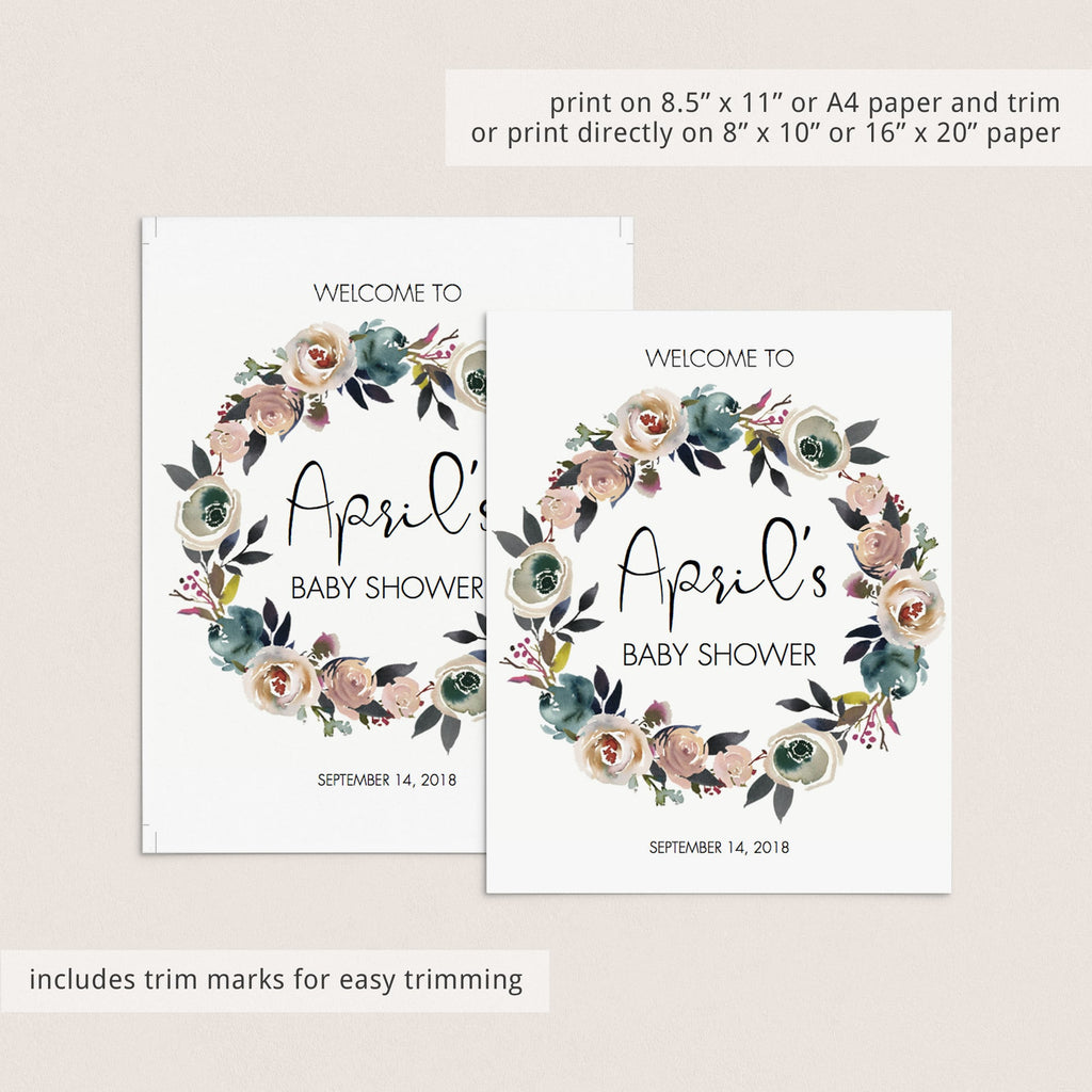 Printable Floral Wreath Baby Shower Decorations