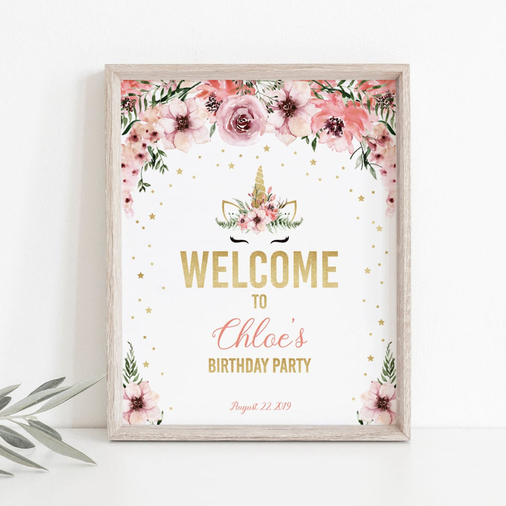 Unicorn birthday welcome sign DIY template by LittleSizzle