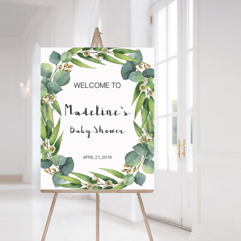 Watercolor leaves baby shower welcome sign by LittleSizzle