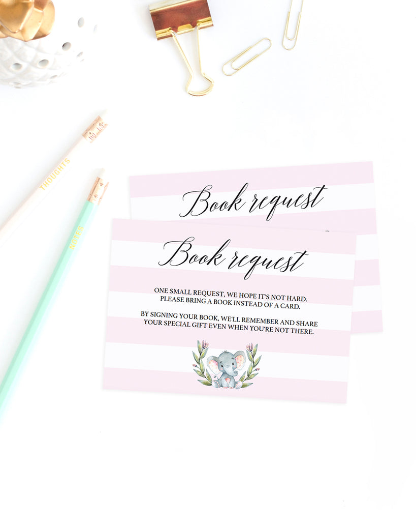 Book request card baby shower template for girls by LittleSizzle