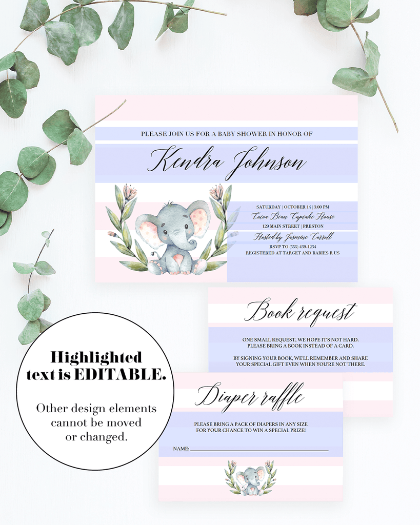 Editable invitation templates for pink elephant baby shower by LittleSizzle