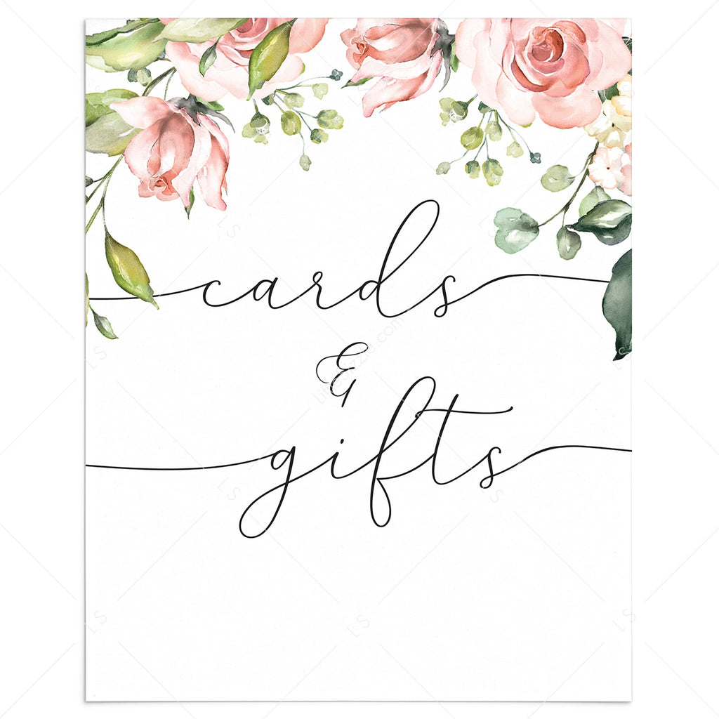 Blush floral cards and gifts table printable sign by LittleSizzle