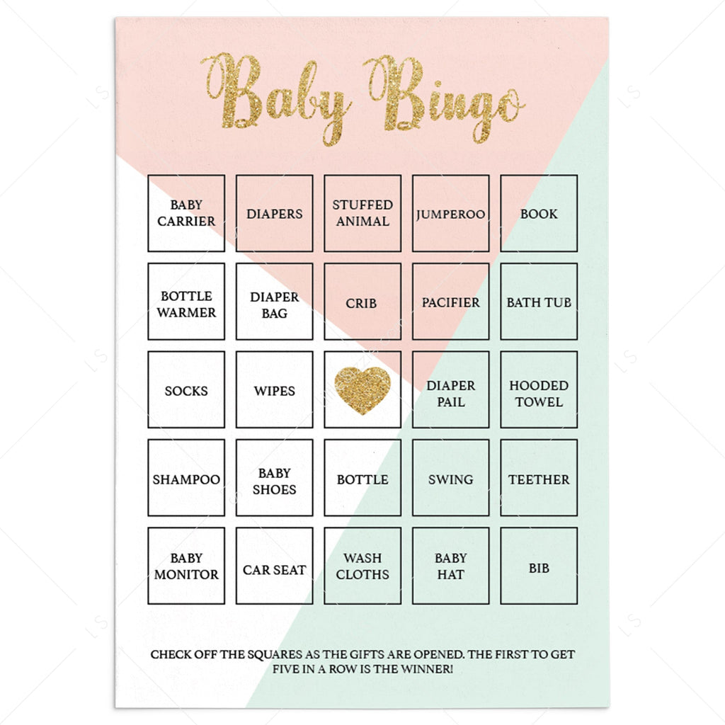 Pink and Mint Printable Baby Bingo Cards by LittleSizzle