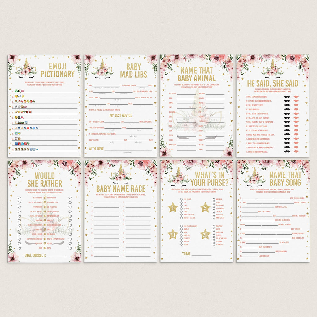Floral unicorn babyshower games pack XL printable by LittleSizzle