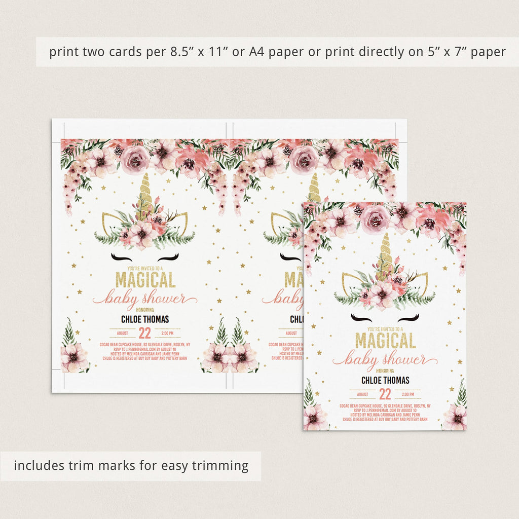 Unicorn Baby Shower Invitation Bundle for Girl Pink and Gold