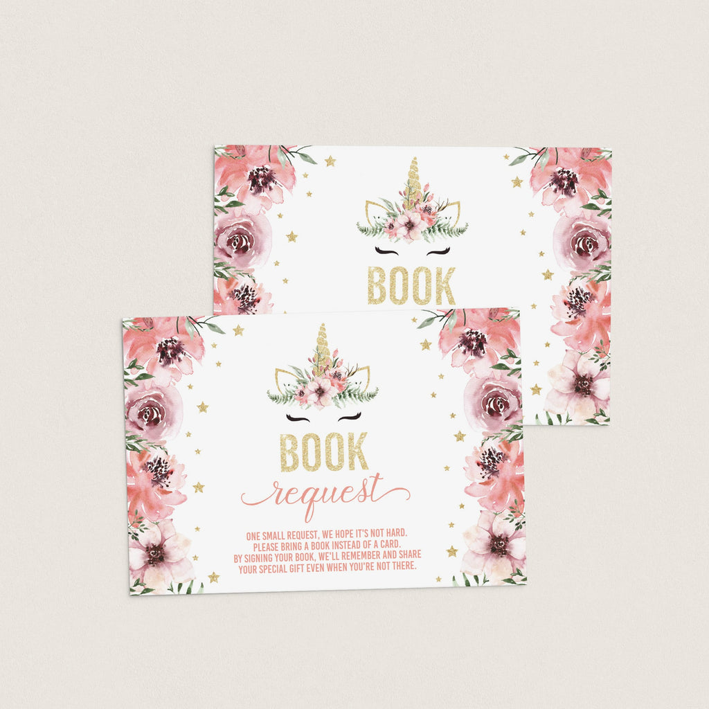 Editable books for baby cards for unicorn themed girl baby shower by LittleSizzle