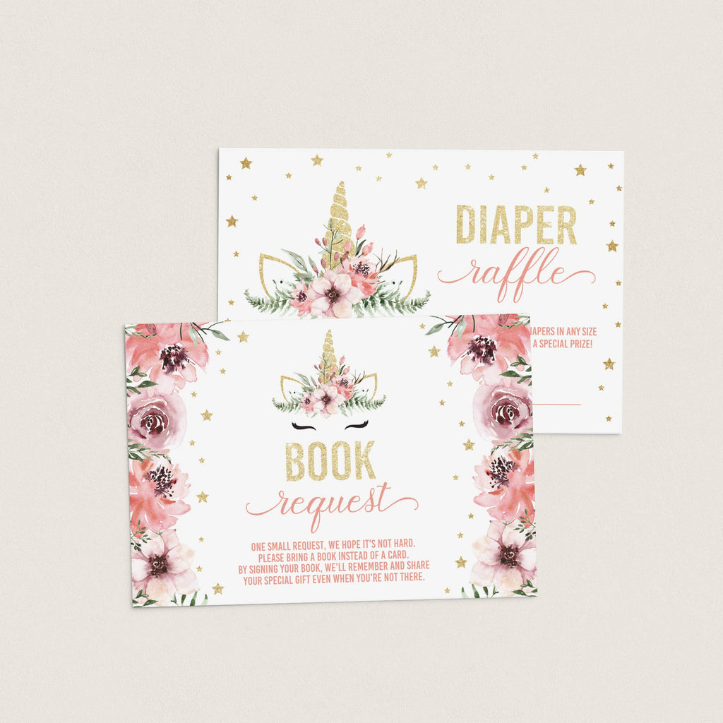 Unicorn themed baby shower invitation inserts book request diaper raffle by LittleSizzle