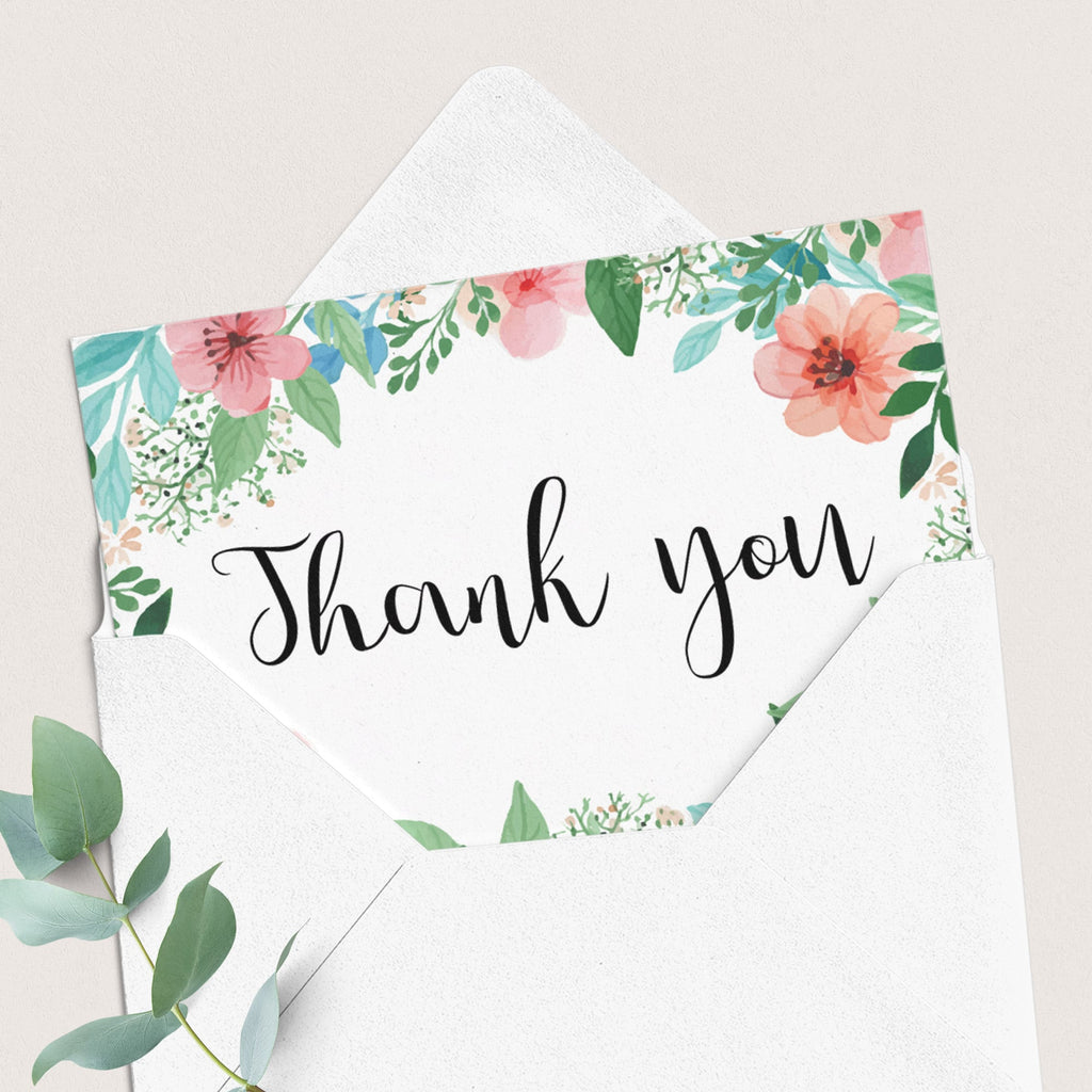 Floral Thank You Cards, Labels and Gift List Printable