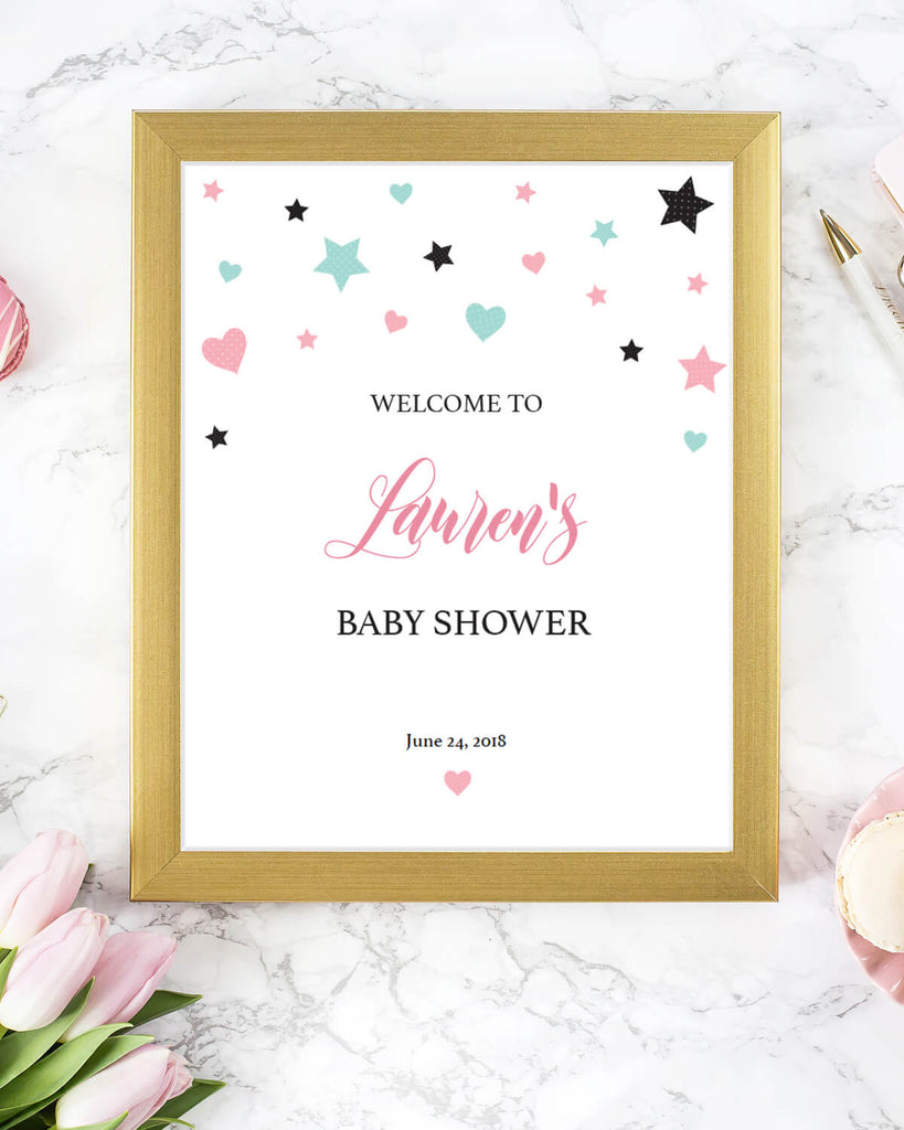 Pink baby welcome sign download by LittleSizzle