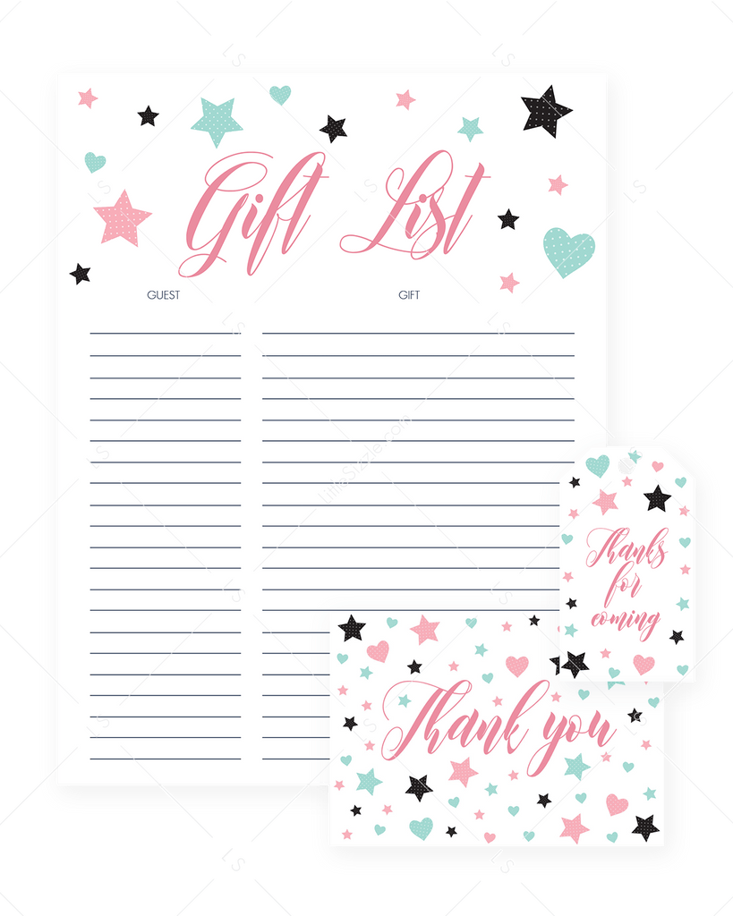 Printable Party Supplies Pink and Mint Hearts and Stars by LittleSizzle